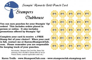 Stampers Clubhouse Gold Member Reward Punch Card