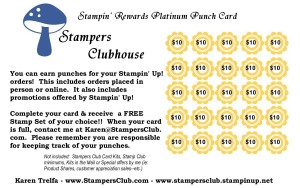 Stampers Clubhouse Platinum Reward Punch Card
