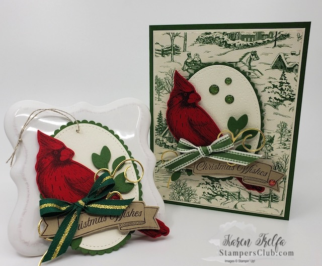 Bird Lovers Christmas Cardinal Card & Gift Tag